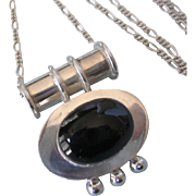 Bold Sterling and Onyx Pendant With Sterling Chain, 24 Grams