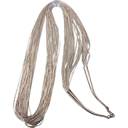 """Vintage Sterling 30 Strand Liquid Silver 30"""" Chain Necklace, 42.9 Grams"""