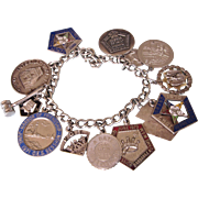 Vintage 1960's/70's Eastern Star OES Loaded Charm Bracelet, Large Enamel Charms, 58.2 Grams