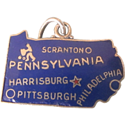 Wells Sterling Pennsylvania Enamel State Travel Charm, Keystone State