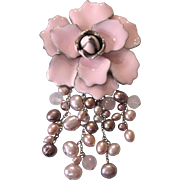 SALE!  Heavenly Pink Enamel Brooch With Cascading Faux Pearls