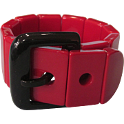 Vibrant Red and Black Plastic Buckle Stretch Bracelet