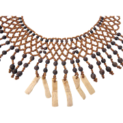 Tribal Bead and Bone Collar Necklace