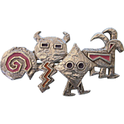 Unusual Sterling and Enamel Aztec Masks Brooch