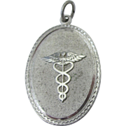 Vintage Caduceus or Medical Symbol Sterling Silver Medallion Charm or Pendant