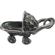 Vintage Sterling Wicker Baby Stroller Carriage 3-D Charm