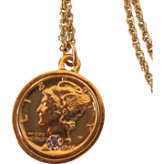 Vintage Historic Society Gold Plated Coin Pendant Necklace With Diamond