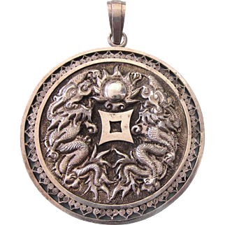 Old Chinese Huge Silver Medallion Pendant With Repousse Dragons