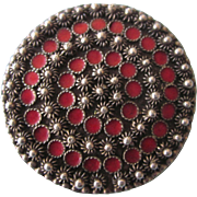 Old 900 Silver Brooch, Etruscan Design With Cantinelle and Red Enamel