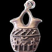Vintage Sterling Wedding Vase Charm or Pendant