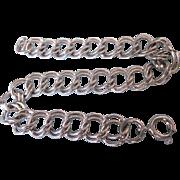 """Vintage Sterling Silver Double Link 7-1/4"""" Starter Charm Bracelet, 10.5 Grams"""