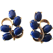 Elegant 14K Gold Lapis Pierced Earrings, Omega Backs