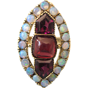 Exquisite, Huge 14K Opal and Garnet Cocktail Ring, Size 5-1/4