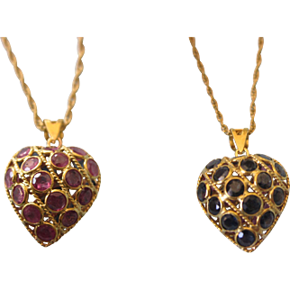 Estate 18K Gold Ruby and Sapphire Reversible Puffy Heart Pendant and Chain