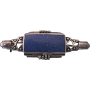 Vintage Sterling Silver and Lapis Lazuli Brooch