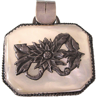 Victorian Sterling and Mother of Pearl Floral Large Pendant