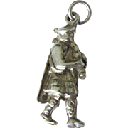 Vintage Sterling Bagpiper 3-D Puffy Travel Charm, Scotland