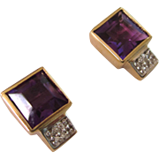 Vintage 585 14K YG Amethyst and Diamond Large Pierced Earrings