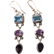 Vintage Sterling Multi-Gemstone Drop Pierced Earrings