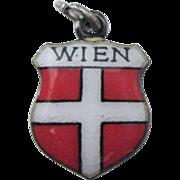 Wien Vienna Austria Vintage 900 Silver Enamel Travel Shield Charm