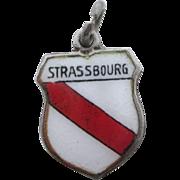 Strassbourg France Vintage 800 REU Silver Enamel Travel Shield Charm