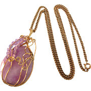 "Vintage Caged Pink Swag Art Glass Pendant Necklace With 26"" Chain"