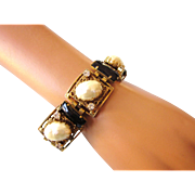 Mid-20th Century Chunky Bracelet - Faux Mabe Pearls, Rhinestones, Black Faceted Glass