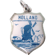 Vintage Silver Holland Travel Shield Charm, Delft Colors