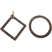 Sterling and Marcasite Geometric Pendants