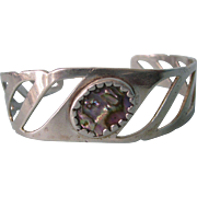 Sterling Eagle Mark Mexican Cuff With Abalone, Signed, 15.1 Grams