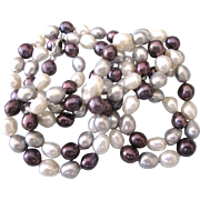 """Lustrous White, Gray and Plum Freshwater Pearl Hand Knotted 36"""" Necklace, Sterling Clasp"""