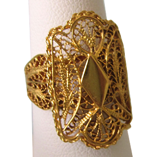 Vintage High Carat Middle Eastern Ornate Filigree Ring, Size 6