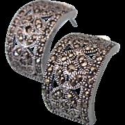 Vintage Sterling and Marcasite Demi-Hoop Pierced Earrings
