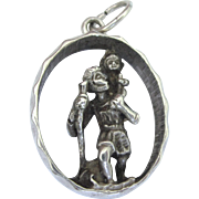 Vintage 3-D St. Christopher Pendant With Full London 1973 Hallmarks