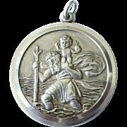 Huge Georg Jensen Sterling St. Christopher Medal, Full Hallmarks 1980 London