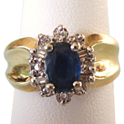 SALE!  Vintage 14K Sapphire and Diamond Wide Band Ring, Size 8, White & Yellow Gold