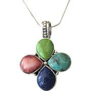 Sterling Gemstone Pendant Necklace - Turquoise, Gaspeite, Lapis, Spiny Orange Oyster