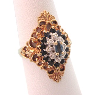 Romantic Etruscan Revival 10K YG Sapphire and Diamond Ring, Size 6-1/2