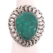 Whimsical Sterling and Lucite Sun Face Bold Ring, Size 8-1/2
