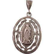 Vintage Our Lady of Guadalupe Large Sterling Silver Medal Pendant