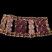 SALE!  Vintage Purple and Clear Wide Rhinestone Bracelet