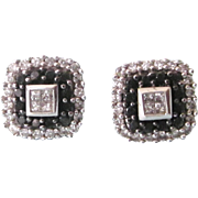 Sophisticated Black and White Diamond Pierced Earrings, 10K White Gold