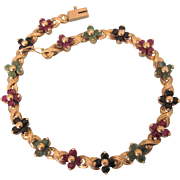 "Estate 14K YG Ruby, Emerald and Sapphire Floral Tennis 7-1/2"" Bracelet, 10.7 Grams"