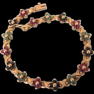 "Estate 14K YG Ruby, Emerald and Sapphire Floral Tennis 7-1/2"" Bracelet, 10.7 Grams"
