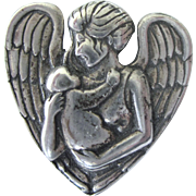 Vintage Sterling Mother and Child, Heart With Wings, Pendant
