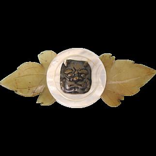 Vintage Large Brooch, Jade, MOP, with Asian Embellishment
