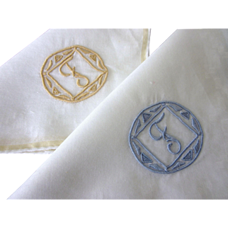 Pair of Monogrammed Letter F Embroidered Hankies