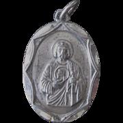 Vintage Sterling Saint Jude Pray For Us Medal Pendant