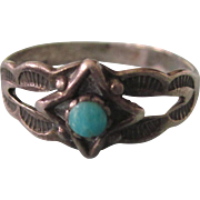 Vintage Southwestern Sterling Turquoise Sweet Size 2-1/2 Ring or Charm