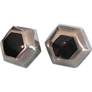 Sleek Sterling Onyx Geometric Pierced Earrings, Taxco Mexico